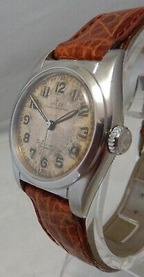 Rolex Oyster Perpetual Bubbleback Model 6050 SS Mens Watch ORIGINAL DIAL c.1950