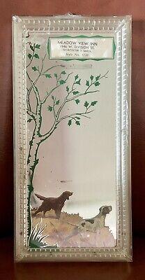Vintage Hunting Dog Retriever Springer Spaniel Advertising Mirror Worcester Mass