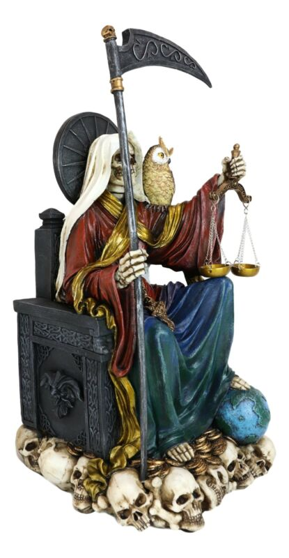 """Large Rainbow Robe Santa Muerte Holy Death With Seven Powers Sitting 21""""H Statue"""