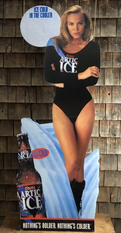 Vintage 90s COORS Beer Brewery Pin Up Girl Die Cut Advertising Display Sign 70""