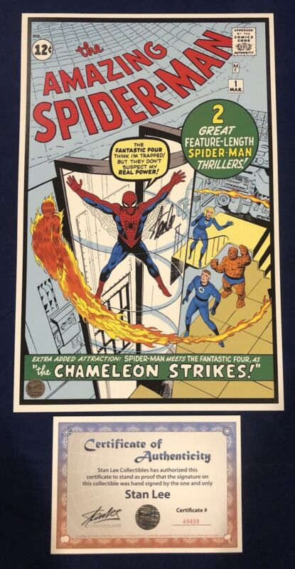Amazing Spider-Man #1 Litho Signed by Stan Lee with COA Steve Ditko Art LIMITED!