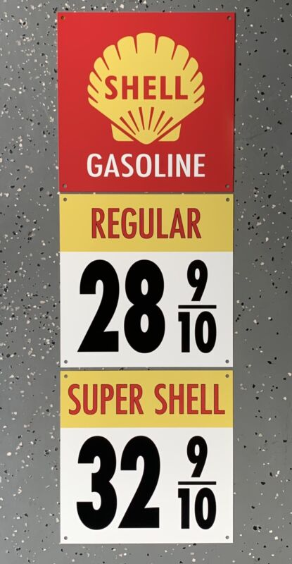 Shell Gasoline sign rare 3 piece vintage reproduction 1950s Pump Gas Oil