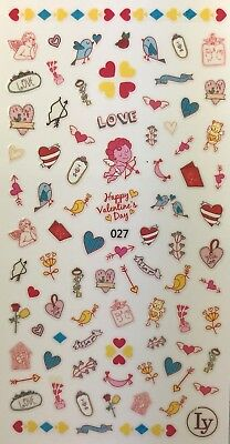 Nail Art 3D Decal Stickers Happy Valentine's Day Cupid Hearts Love Birds LY027