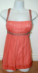 BRAND NEW 2B BEBE WOMEN'S PINK BEADED STRAP CAMI TANK TOP SIZE MEDIUM