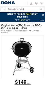 "Webber Charcoal BBQ - 22"" - 363 sq.in. - Black"