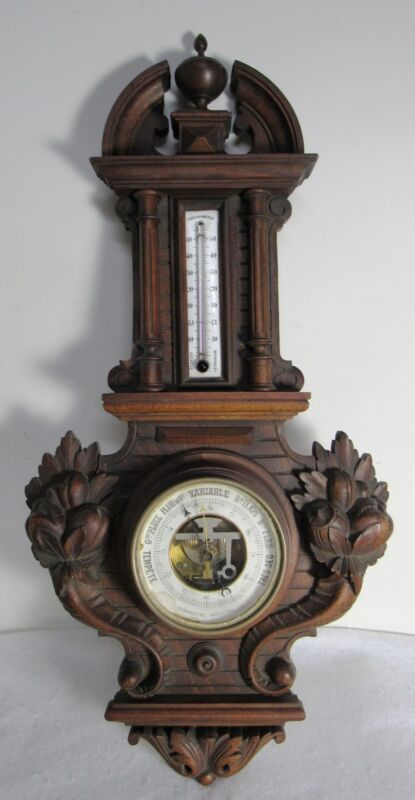 """ANTIQUE FRENCH BAROMETRE BAROMETER THERMOMETRE ANEROIDE BEAUTIFULLY CARVED 26"""""""