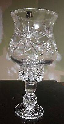 Two Piece Lead Crystal Torchiere Lamp From Poland
