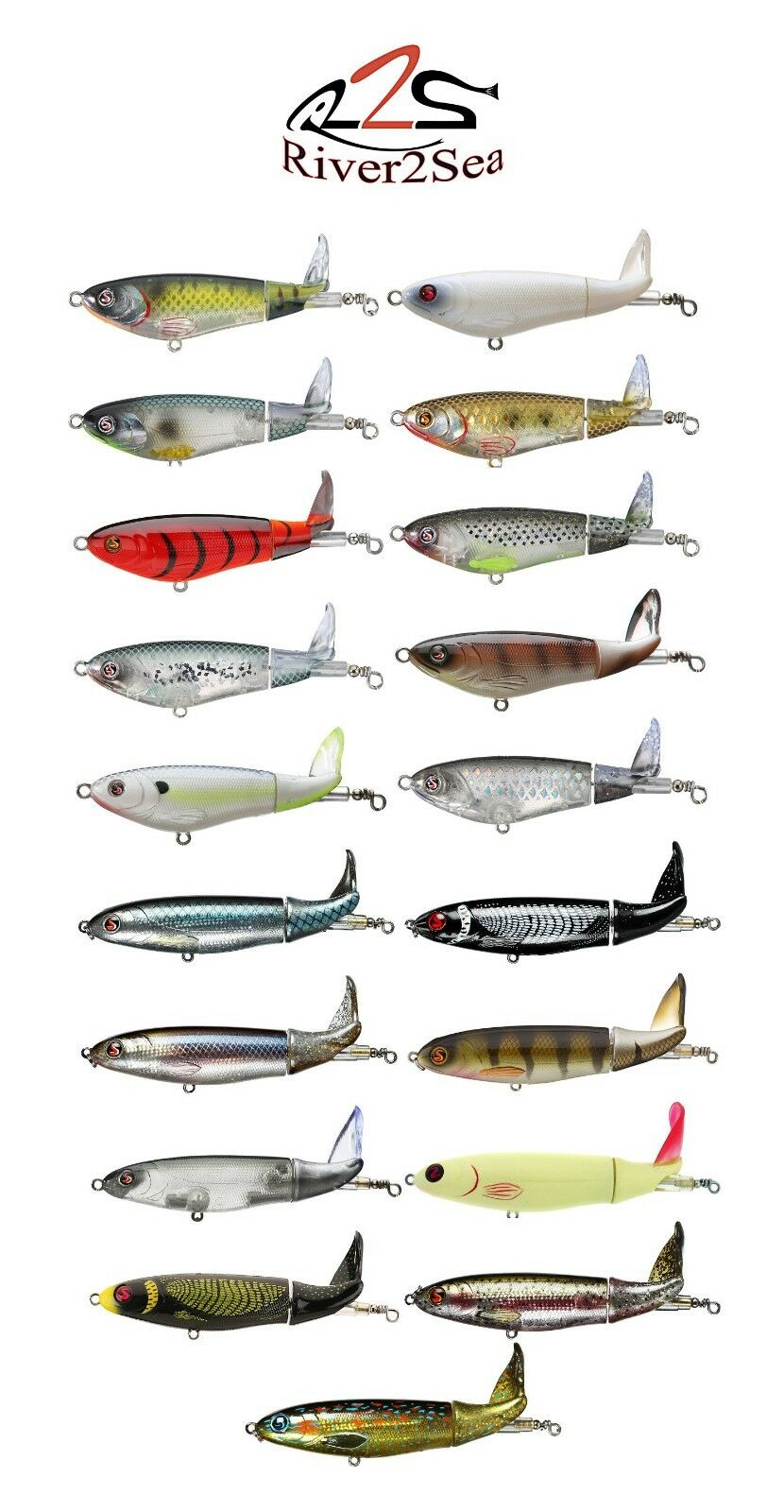 "River2Sea Whopper Plopper *90* Topwater Prop Bait Lure 3 1/2"" - Assorted Colors"