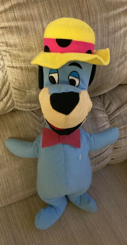 "Vintage 1980 Mighty Star Hanna Barbara Huckleberry Hound 14"" Plush Cartoon Dog"