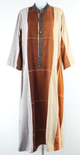 Moda Emanuela OS Rust Orange Multi Button Tab Long Caftan 087T