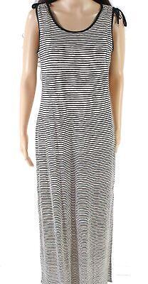Lauren by Ralph Lauren Black Women Medium M Tie Striped Maxi Dress $145 #654