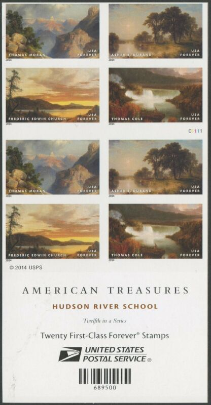"""#4920d """"hudson River School Paintings"""" Imperf Pane Of 20 Bs5578"""