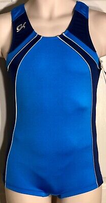 WAS $49.99 NWT! GK ELITE MENS GYMNASTIC COMPETITION SHIRT NYLON TECHMESH BLUE AM