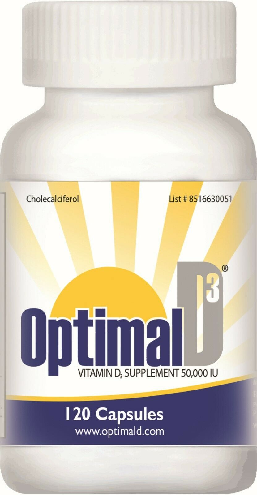 Optimal D3 | Vitamin D3 50000 IU | 120 Capsules | Exp. 01/