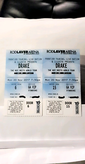 Drake DAY ONE VIP $350 EACH!  SOLD OUT VIP GA!! Monday show!