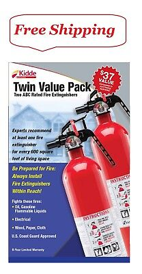 Kidde Twin Pack Fire Extinguisher Rated 1a10bc