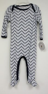 Burts Bees Baby Organic Cotton Outfit long sleeve White Blue Chevron Bee Allover