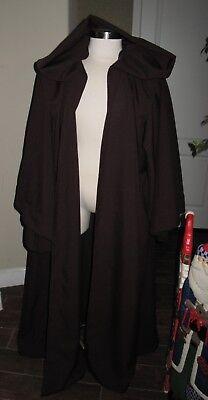 Cosplay Dark Brown Poplin Robe with Deep Hood, - Brown Robe