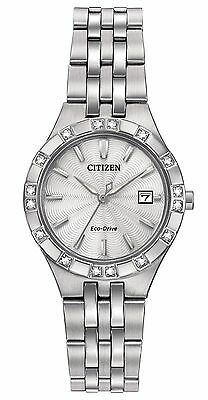 Citizen Eco-Drive Women's EW2330-51A Diamond Accents Silver Tone Watch