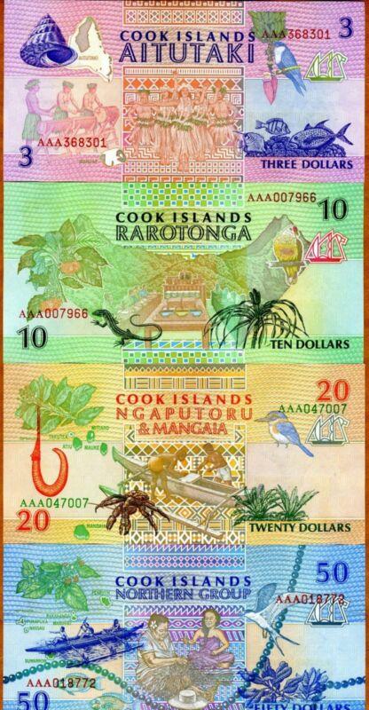 SET Cook Islands, $3;10;20;50 1992, AAA prefix, Picks 7-8-9-10, UNC