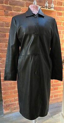 Vintage 90s Kasper Black Genuine Leather Trench Coat 12 Goth Steampunk