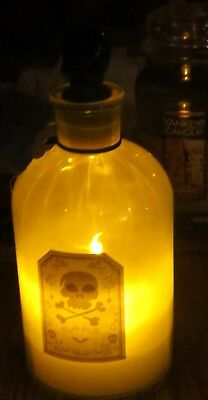 PIER 1 IMPORTS GREENISH APOTHECARY SKULL MAD SCIENTIST JAR LED CANDLE WITH TIMER](Decorating Apothecary Jars Halloween)