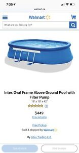 Intex 18ft X 10ft X 42in Oval Frame Swimming Pool Set