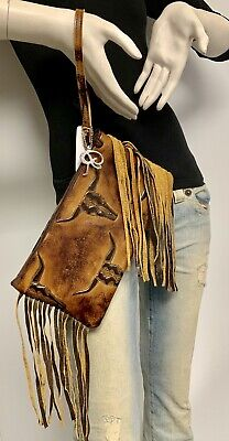 Raviani Fringe Zipper Wristlet Bag In 2 Tone Brown Long Horn Leather MADE IN USA ()