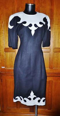 80s Dresses | Casual to Party Dresses Vtg 80s PIA RUCCI Black White Applique Linen Colorblock Cocktail Sheath DRESS ! $50.15 AT vintagedancer.com