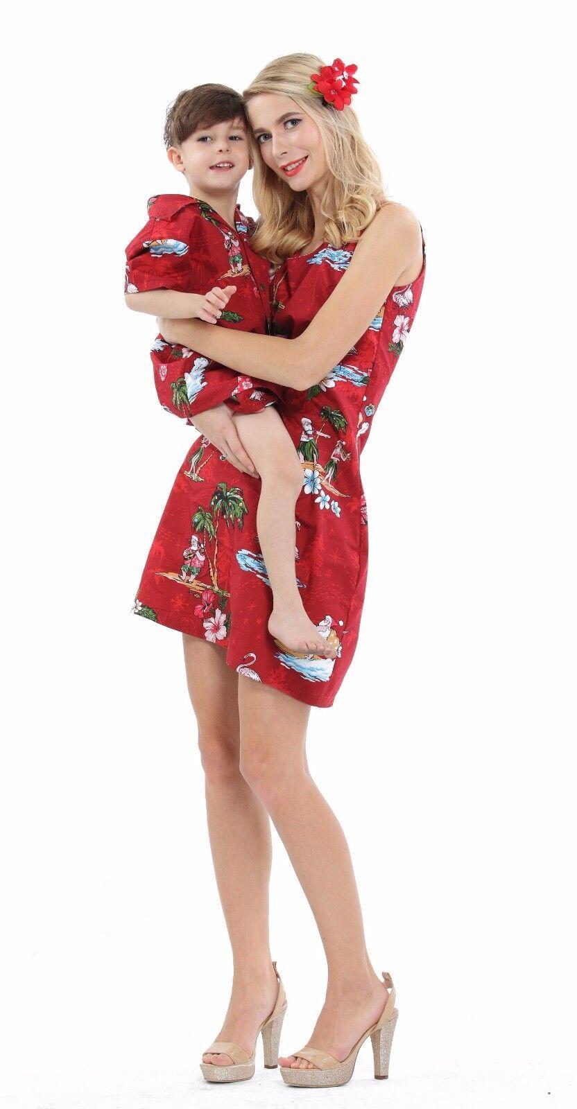 Mother Son Matching Dress Shirt Hawaiian Dance Luau Party...