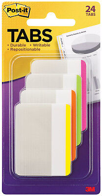 3m Post It Tabs 2 X 1.5 Writable Repositionable 4 Bright Colors 24pk