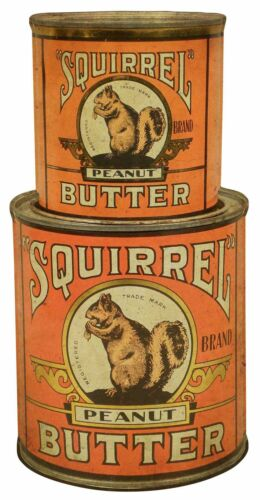 SQUIRREL BRAND PEANUT BUTTER STACKED CANS HEAVY DUTY USA MADE METAL ADV SIGN