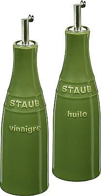 Staub Keramik Öl & Essig Set Dressingspender  rund Basilikumgrün 0,25L