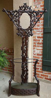 Antique Carved Walnut Black Forest Hall Tree Umbrella Stand Mirror Coat Rack
