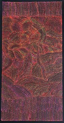 Joy Purvis Petyarre ,Authentic Aboriginal Art, Size; 120 x 60cm  Bush Yam Seeds.