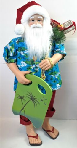 """Tropical Beach Surf Santa Claus with Board & Gift Bag 34"""" inch Standing Greeter"""