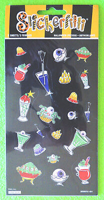 30pc Halloween Eerie Creepy Stickers Weird Cocktail Drinks Worm Desserts Eyeball
