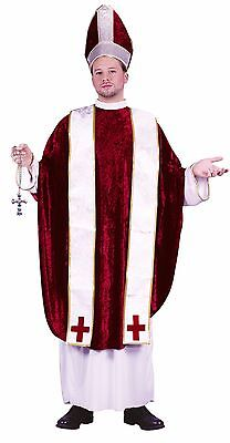 Mens Pope/Cardinal Costume Vatican Gown Red White Mitre Catholic Church Adult