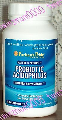 Probiotic Acidophilus 100 Million Active Cultures 100 Capsules Puritans Pride
