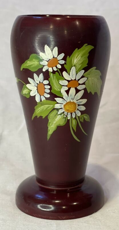 """Vintage Hand Carved Wooden Vase 6"""" Tall Made In Brazil Hand-Painted Daisies"""