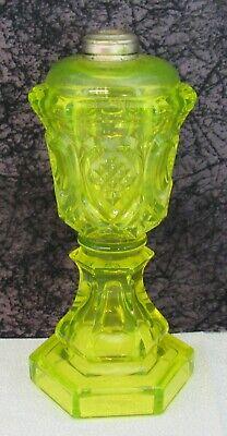 Antique Boston & Sandwich Heart & Waffle Canary Vaseline Flint Glass Oil Lamp