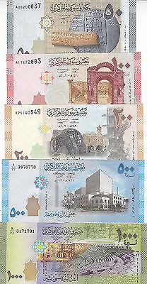 SYRIA 50 100 200 500 1000 LIRA POUNDS 2009 2013 P-112 113 114 115 116 UNC SET