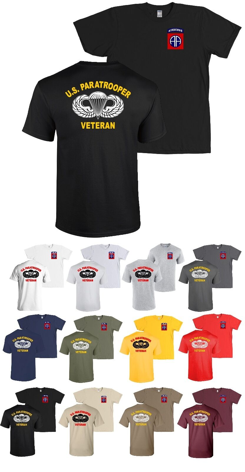 82nd Airborne Division US Paratrooper Veteran T-Shirt Infantry Army - NEW