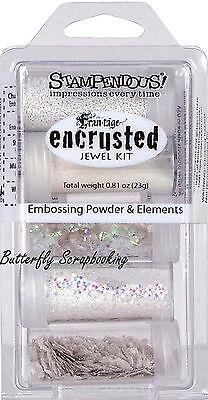 как выглядит Набор резиновых штампов Frantage Encrusted Jewel Kit Collection White Embossing Element Stampendous NEW фото