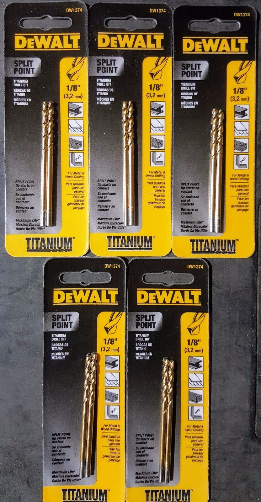 DEWALT 1/8 in. Titanium Split Point Drill Bits 2 Pack