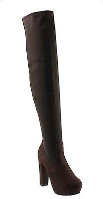 Refresh Rihana-01 Strechy Shaft Platform Block High Heel Over the Knee (Shaft Platform Boot)