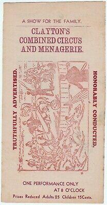 RARE Advertising Broadside / Flyer / Circular Clayton's Circus & Menagerie 1920