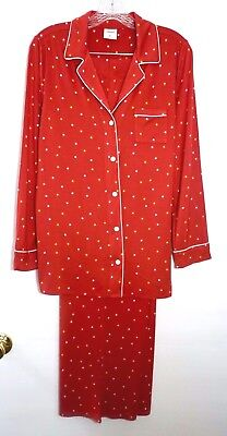 NWT Soma Cool Nights Long Sleeve Pajama Top / Pants Pajamas Set, Festive Dot Red](Cool Nights Pajamas)