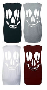 New-Womens-Skull-Open-Back-Cut-Out-Ladies-Sleeveless-T-Shirt-Vest-Top-Size-8-14