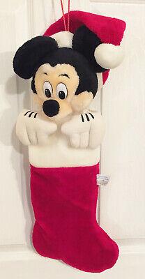 Vintage Mickey Mouse Santa Plush 3D Christmas Stocking Disneyland Disney World